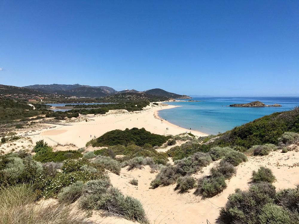 Foto delle spiagge di Chia in Sardegna, spiagge per bambini in Sardegna