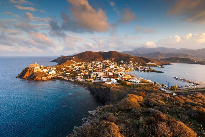 Morning,View,Of,Psara,Village,And,Agios,Nikolaos,Church.